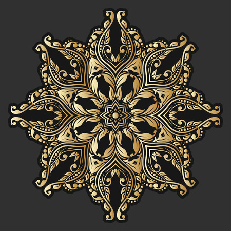 Vector gold floral round ornament on black background. Vector