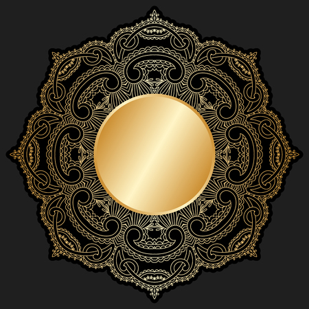 arabesque antique: Vector gold floral round ornament with place for text. Illustration