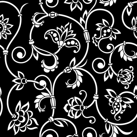 black and white leaf: Vector vintage seamless pattern for print, embroidery.