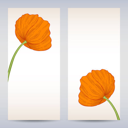 Vector templates poppies graphic designs. Easter or invitation card. Vector