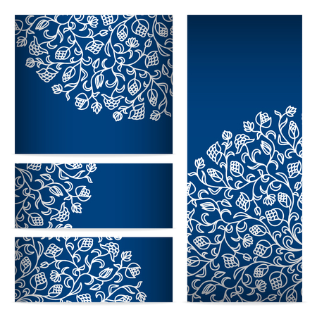 floral corner: Vector templates floral pattern graphic designs. Birthday or invitation card.