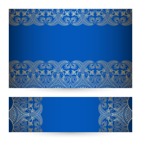 set with vintage lace floral pattern for greeting or invitation card. Vector