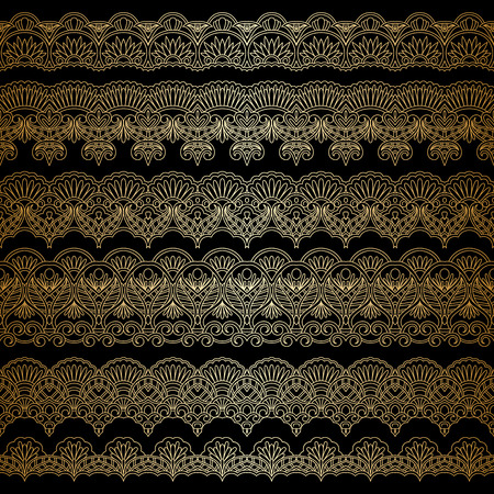 lace filigree: set of borders, decorative elements for design, print, embroidery. Illustration