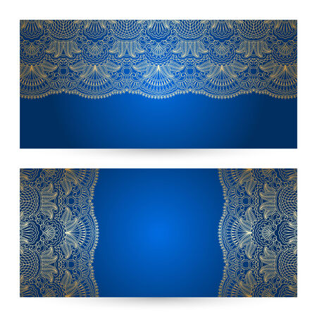 vector greeting card: Vector set with vintage lace floral pattern for greeting or invitation card.