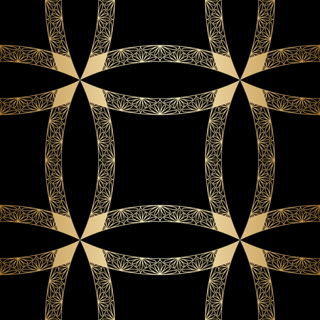 vintage gold geometrical floral ornament. Seamless background. Vector