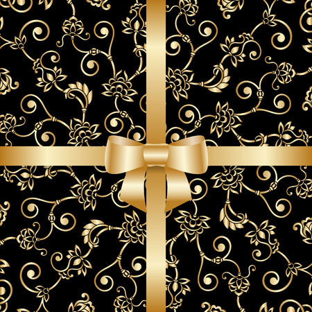 black bow: Vector greeting or invitation card with vintage lace floral pattern and bow ribbon