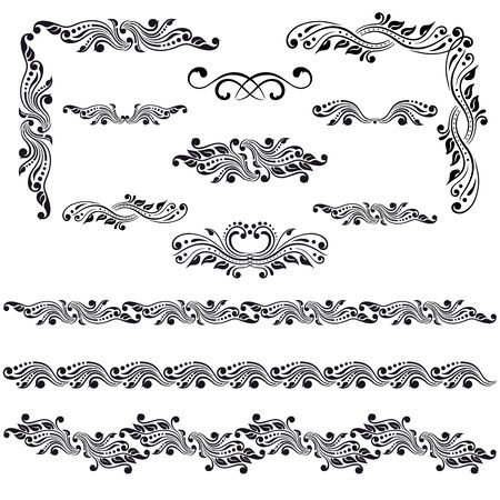 Vector set of borders, decorative elements for design, print, embroidery  Vector
