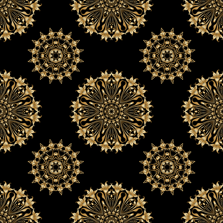 Vector seamless background with vintage floral elements. Gold on the black. Vector