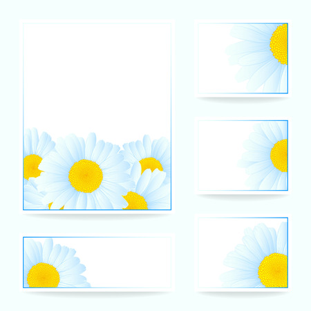 Vector set greeting or invitation card with daisies. Vector