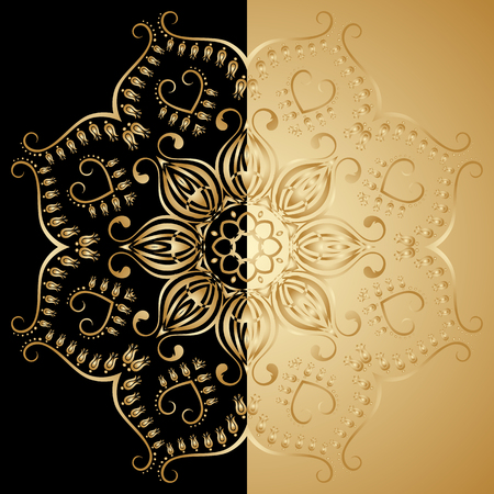 lace vector: Vector illustration with vintage lace floral pattern. Gold and black.