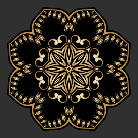 Vector vintage gold floral round pattern for print, embroidery.