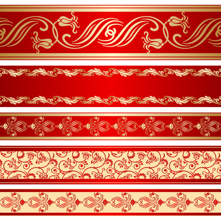 Vector set of decorative ribbon with floral seamless pattern.