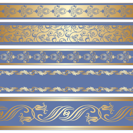 Vector set of decorative ribbon with floral seamless pattern. Vector