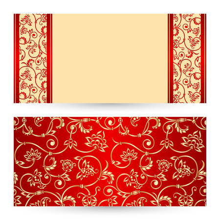 Vector set with vintage lace floral pattern for greeting or invitation card.
