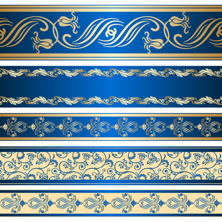 trims: Vector set of decorative ribbon with floral seamless pattern.