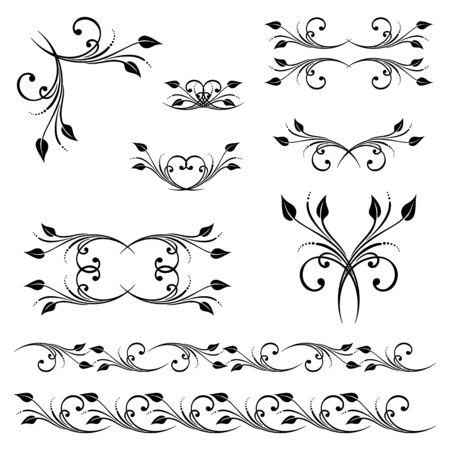 Vector set of borders, decorative elements for design, print, embroidery. Vector