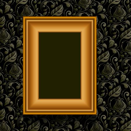 Vector silver picture frame on vintage grunge red wallpaper.