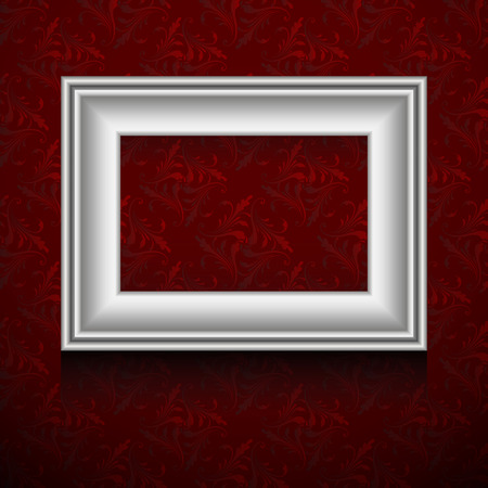 silver picture frame: Vector silver picture frame on vintage grunge red wallpaper.