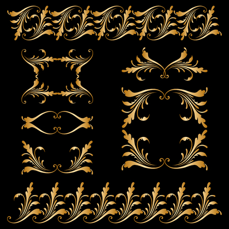 lace border: Vector set of borders, decorative elements Illustration