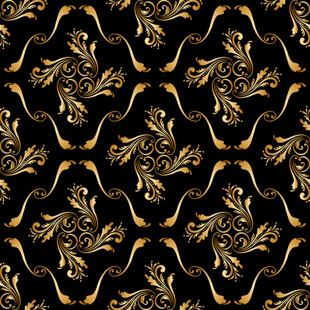 Vector seamless shining background with vintage floral pattern.