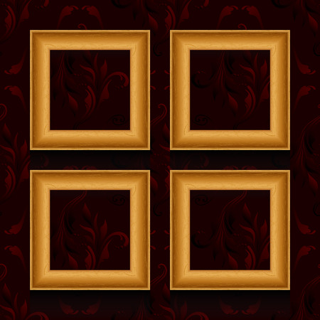 Vector picture frames on wall, vintage wallpaper. Vector