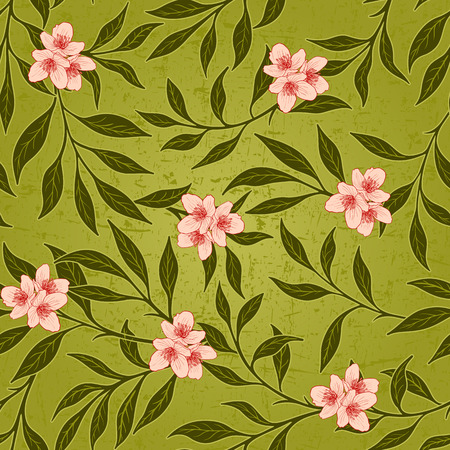 attrition: Vector floral grunge seamless background with scratch and attrition.