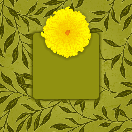 marigold: Vector greeting or invitation card with leaves pattern background and place for text. Illustration