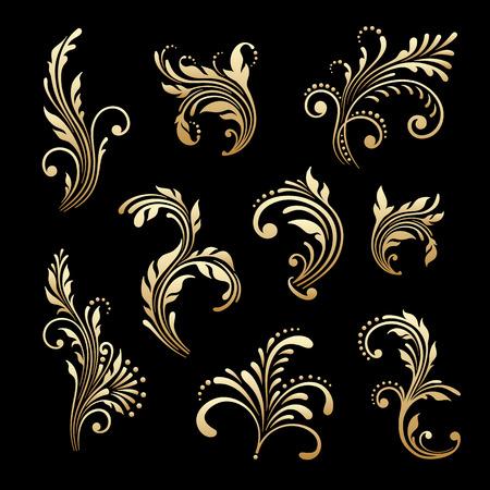 Vector set of vintage floral decorative elements for design, print, embroidery. 일러스트