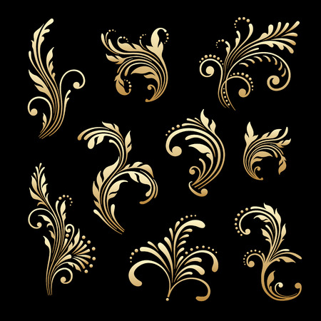 Vector set of vintage floral decorative elements for design, print, embroidery. Illustration