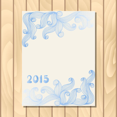 icy: Vector invitation card with icy pattern on wood background.