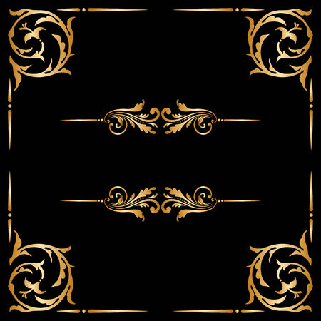 golden border: Vector set of borders, decorative elements for design, print, embroidery.