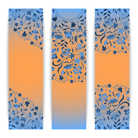 Vector set with floral pattern for greeting or invitation card. Vector