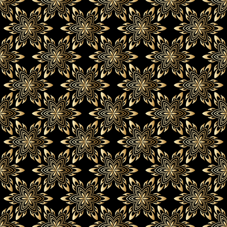 Vector seamless shining background with vintage floral pattern. Vector