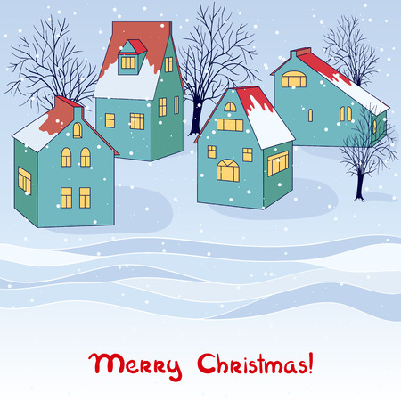 snow drift: Vector christmas invitation card with winter view.
