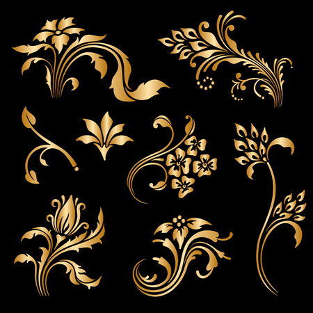 Vector set of vintage floral decorative elements for design, print, embroidery. Vector