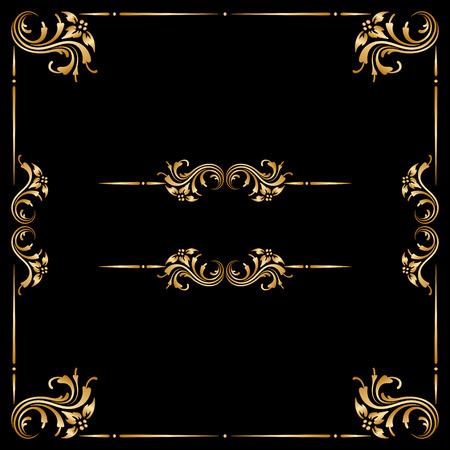 corner border: Vector set of vintage floral decorative elements for design, print, embroidery. Illustration