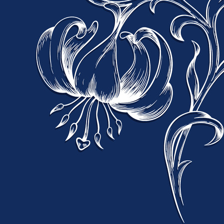 lily leaf: Vector greeting or invitation card with lily and place for text.
