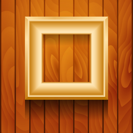 Vector gold picture frame on wooden wall. Vector