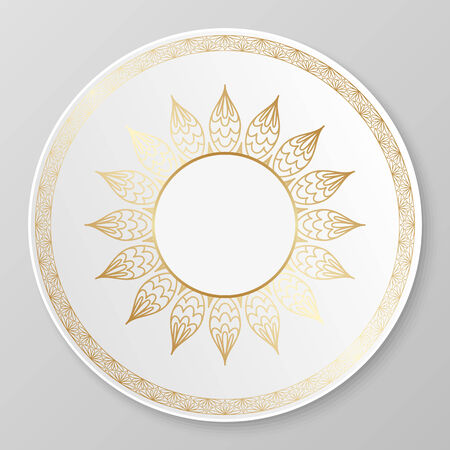 arabic: Vector gold floral ornament for decorative plate.