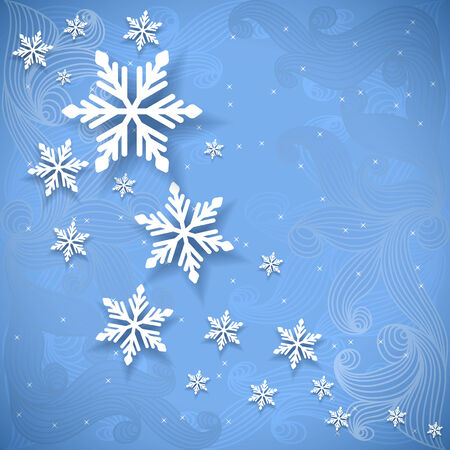 흰 서리: Vector invitation christmas or new year card with snowflakes.