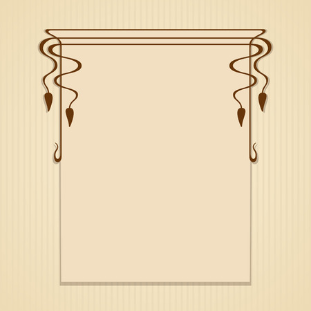 Vector art nouveau frame with space for text. Çizim