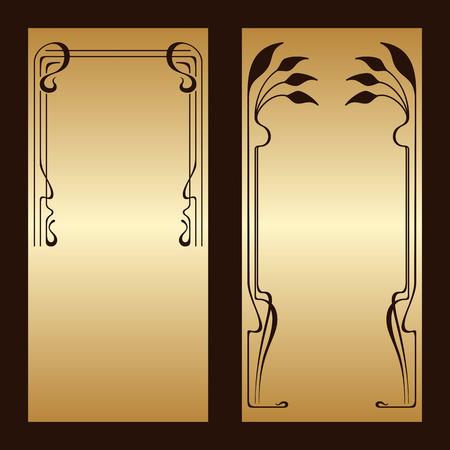 stile liberty: Vector art nouveau biglietti d'invito oro con spazio per il testo.