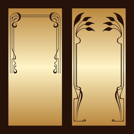 corners: Vector art nouveau gold invitation cards with space for text. Illustration