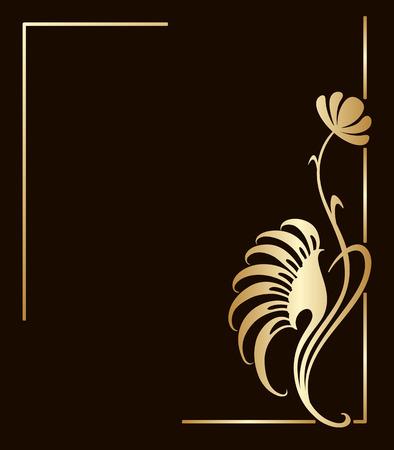 curvas: Vector art nouveau marco dorado con espacio para el texto.