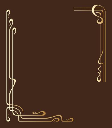 ベクトル テキスト用のスペースとアール ヌーボー様式のゴールデン フレーム。  イラスト・ベクター素材