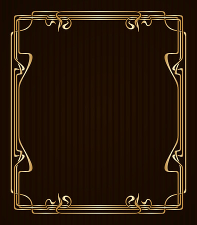 art deco border: Vector art nouveau golden frame with space for text.