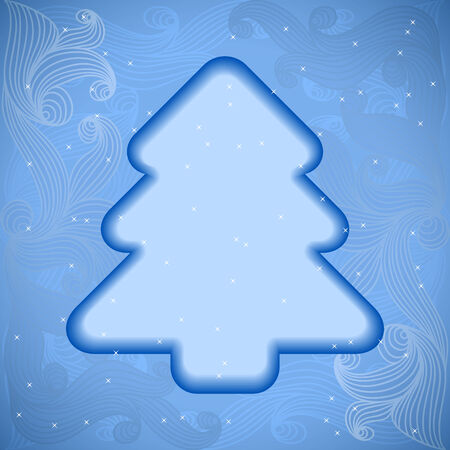 xmas tree: Vector christmas or new year invitation card with xmas tree and space for text. Illustration