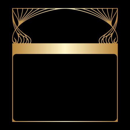 golden border: Vector art nouveau frame with space for text. Illustration