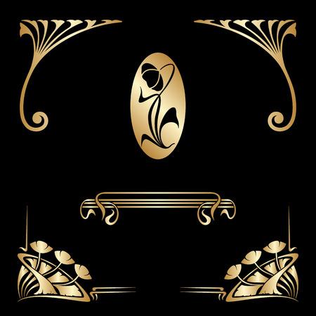 Vector set of art nouveau decorative elements for design, print, embroidery.