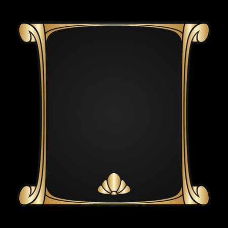 art nouveau design: Vector art nouveau golden frame with space for text.